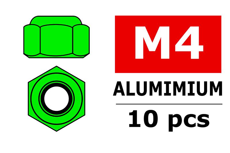 Team Corally - Aluminium Nylstop Nut - M4 - Green - 10 pcs