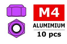 Team Corally - Aluminium Nylstop Nut - M4 - Purple - 10 pcs