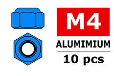 Team Corally - Aluminium Nylstop Nut - M4 - Blue - 10 pcs