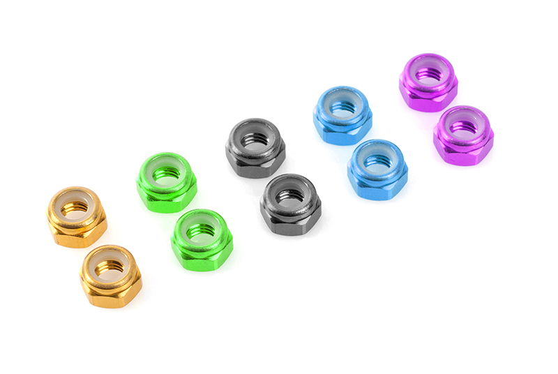 Team Corally - Aluminium Nylstop Nut - M4 - Red - 10 pcs
