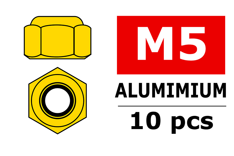 Team Corally - Aluminium Nylstop Nut - M5 - Gold - 10 pcs