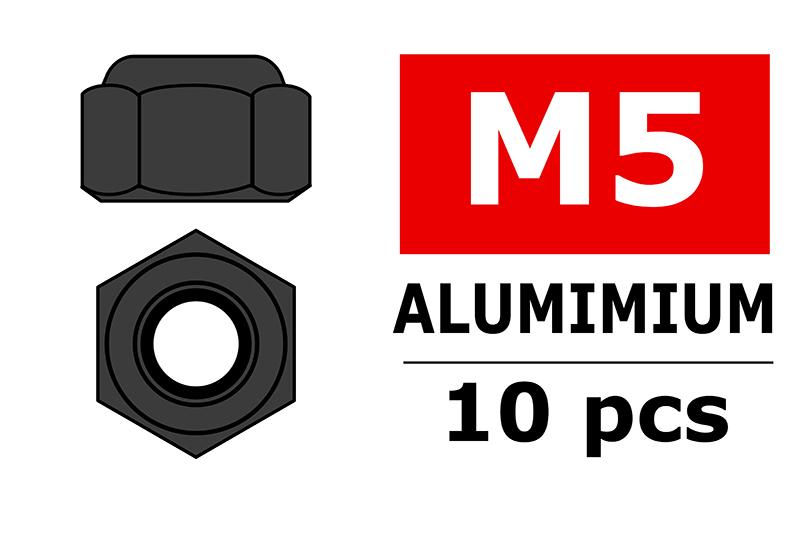 Team Corally - Aluminium Nylstop Nut - M5 - Gun Metal - 10 pcs