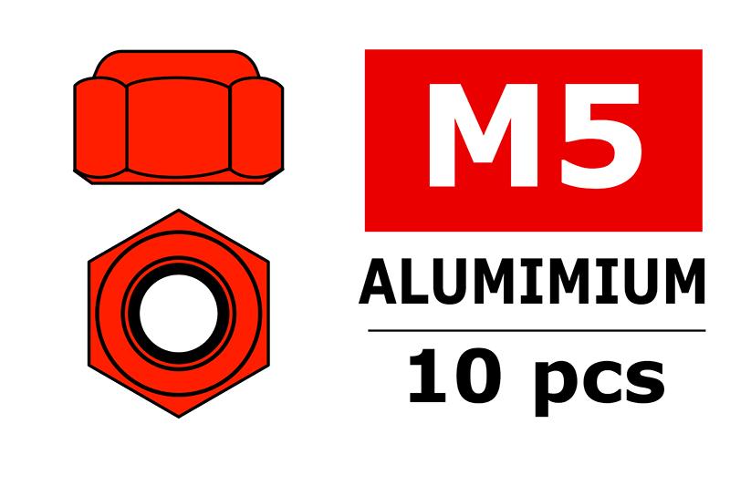 Team Corally - Aluminium Nylstop Nut - M5 - Red - 10 pcs