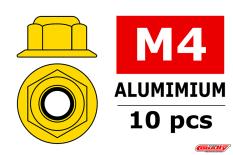 Team Corally - Aluminium Nylstop Nut - M4 - Flanged - Gold - 10 pcs
