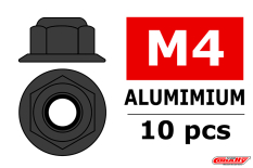 Team Corally - Aluminium Nylstop Nut - M4 - Flanged - Gun Metal - 10 pcs