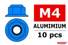 Team Corally - Aluminium Nylstop Nut - M4 - Flanged - Blue - 10 pcs