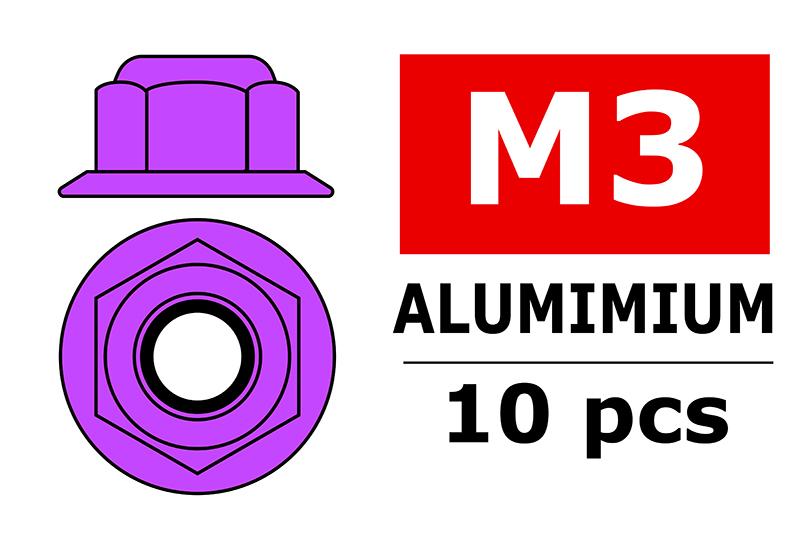 Team Corally - Aluminium Nylstop Nut - M3 - Flanged - Purple - 10 pcs