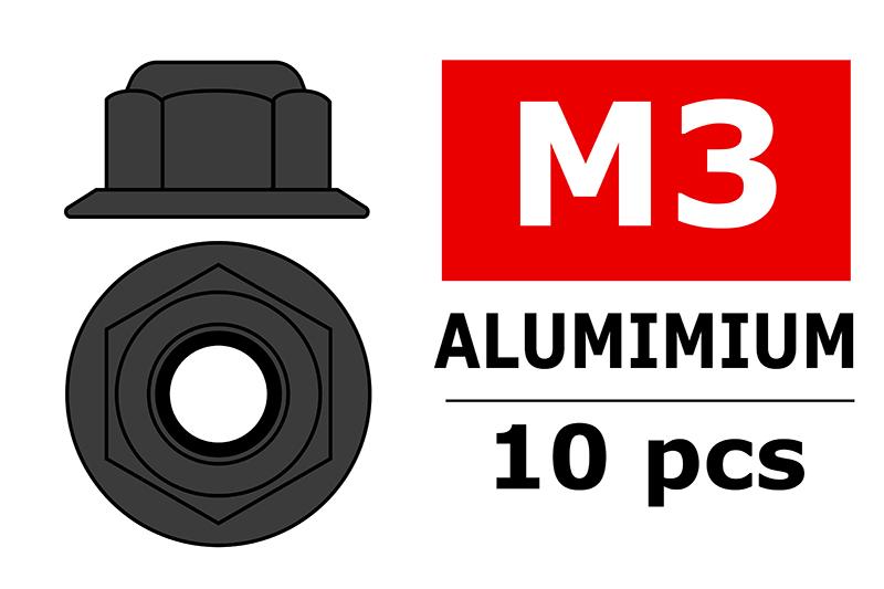 Team Corally - Aluminium Nylstop Nut - M3 - Flanged - Gun Metal - 10 pcs
