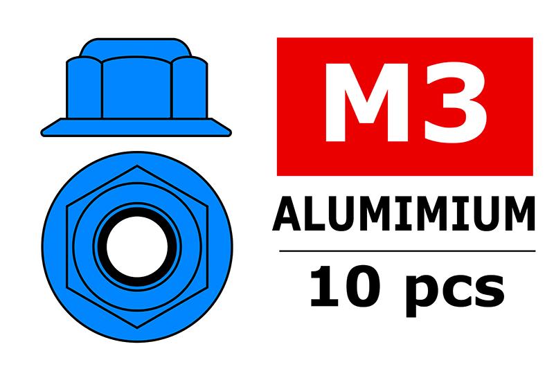 Team Corally - Aluminium Nylstop Nut - M3 - Flanged - Blue - 10 pcs
