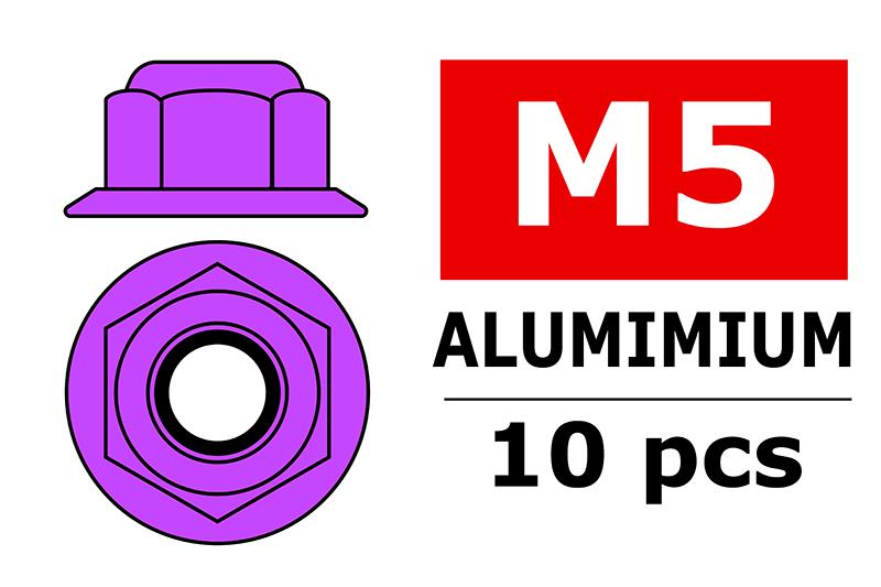 Team Corally - Aluminium Nylstop Nut - M5 - Flanged - Purple - 10 pcs