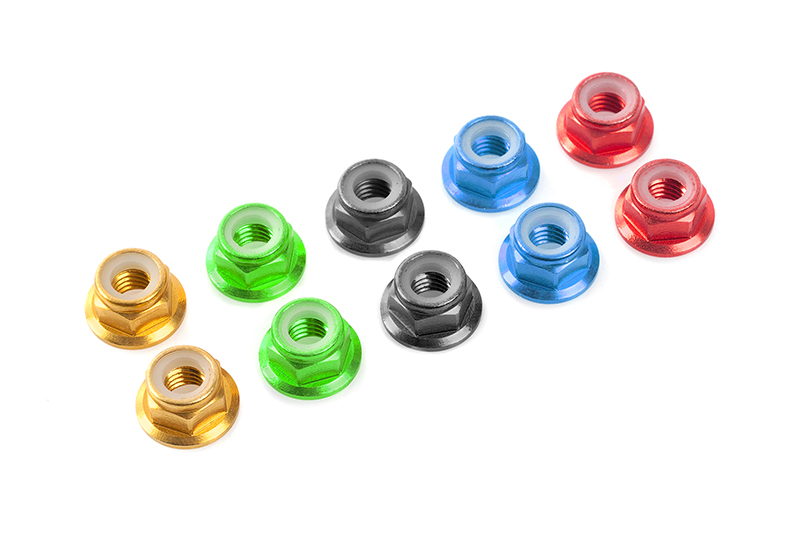 Team Corally - Aluminium Nylstop Nut - M5 - Flanged - Red - 10 pcs
