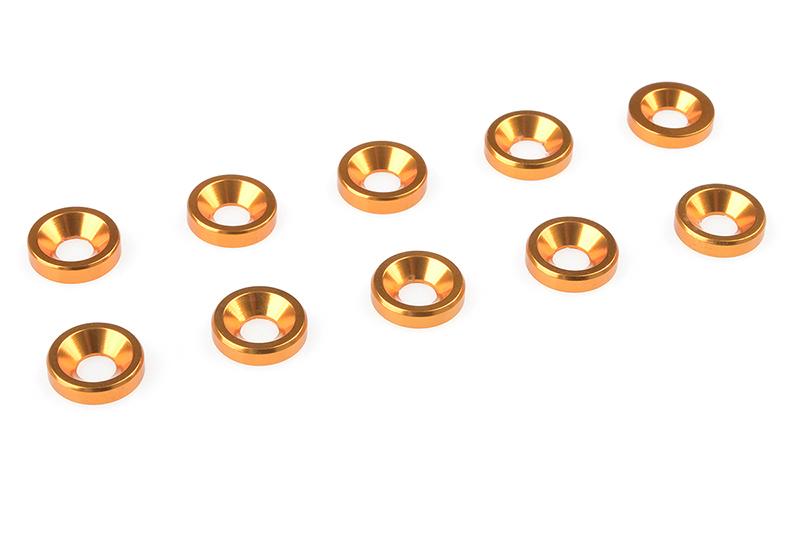 Team Corally - Aluminium Washer - for M3 Flat Head Screws - OD=8mm - Gold - 10 pcs