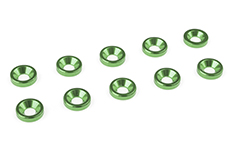 Team Corally - Aluminium Washer - for M3 Flat Head Screws - OD=8mm - Green - 10 pcs