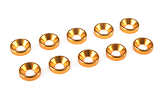 Team Corally - Aluminium Washer - for M4 Flat Head Screws - OD=10mm - Gold - 10 pcs
