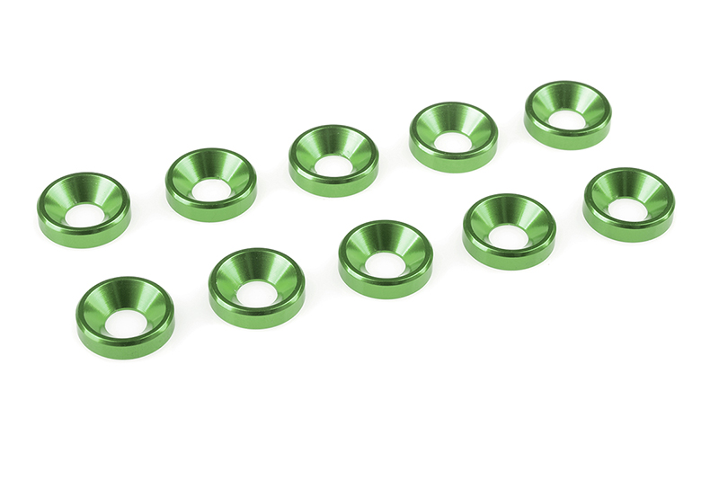 Team Corally - Aluminium Washer - for M4 Flat Head Screws - OD=10mm - Green - 10 pcs
