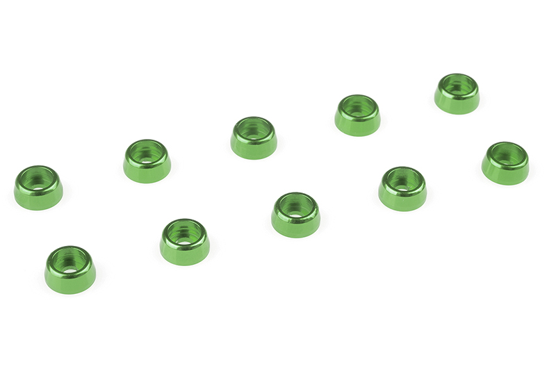 Team Corally - Aluminium Washer - for M2 Socket Head Screws - OD=6mm - Green - 10 pcs