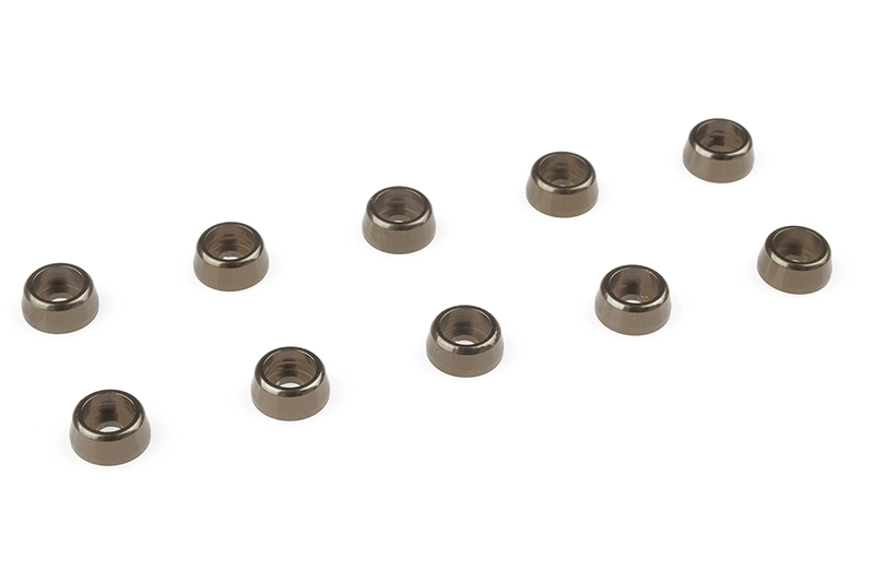 Team Corally - Aluminium Washer - for M2 Socket Head Screws - OD=6mm - Gun Metal - 10 pcs