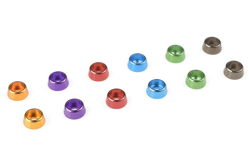 Team Corally - Aluminium Washer - for M2.5 Socket Head Screws - OD=7mm - Green - 10 pcs