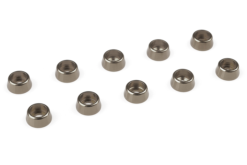 Team Corally - Aluminium Washer - for M2.5 Socket Head Screws - OD=7mm - Gun Metal - 10 pcs