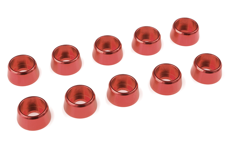 Team Corally - Aluminium Washer - for M4 Socket Head Screws - OD=10mm - Red - 10 pcs