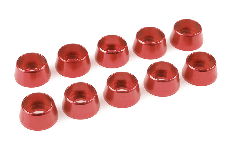 Team Corally - Aluminium Washer - for M5 Socket Head Screws - OD=12mm - Red - 10 pcs