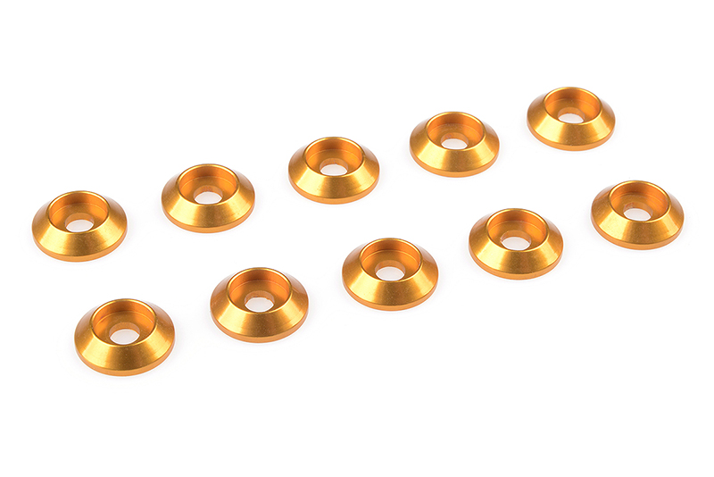 Team Corally - Aluminium Washer - for M3 Button Head Screws - OD=10mm - Gold - 10 pcs