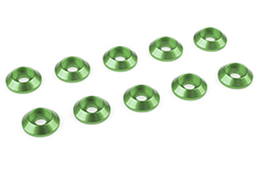 Team Corally - Aluminium Washer - for M3 Button Head Screws - OD=10mm - Green - 10 pcs