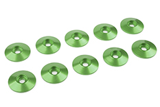 Team Corally - Aluminium Washer - for M3 Button Head Screws - OD=15mm - Green - 10 pcs