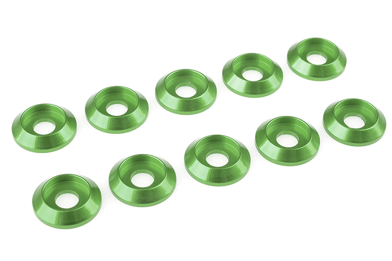 Team Corally - Aluminium Washer - for M4 Button Head Screws - OD=12mm - Green - 10 pcs
