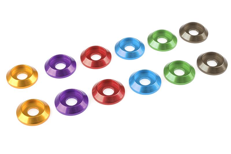 Team Corally - Aluminium Washer - for M4 Button Head Screws - OD=12mm - Gun Metal - 10 pcs