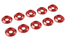 Team Corally - Aluminium Washer - for M4 Button Head Screws - OD=12mm - Red - 10 pcs
