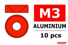 Team Corally - Rondelles aluminium - pour vis M3 à tête conique - DE=8mm - Rouge - 10 pcs