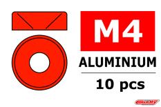 Team Corally - Rondelles aluminium - pour vis M4 à tête conique - DE=10mm - Rouge - 10 pcs