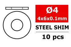 Team Corally - Steel Metric Shim - 4x6x0,1mm - 10 pcs