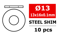 Team Corally - Steel Metric Shim - 13x16x0,1mm - 10 pcs