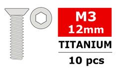 Team Corally - Titanium Screws M3 x 12 mm Hex Flat Head - 6 pcs