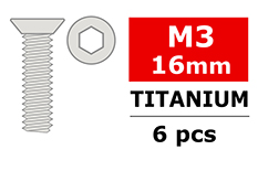Team Corally - Titanium Screws M3 x 16mm - Hex Flat Head - 6 pcs