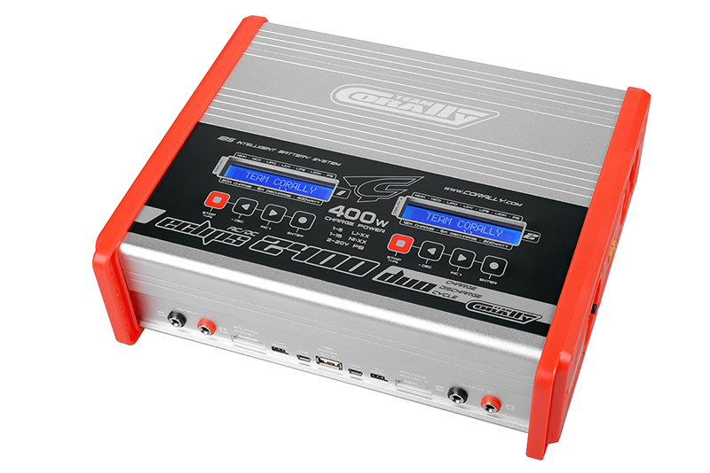 Team Corally - Charger - Eclips 2400 Duo - AC/DC - 400W Power - LCD Display - (2X) 1-6 Li-Xx - 1-15 Ni-Xx