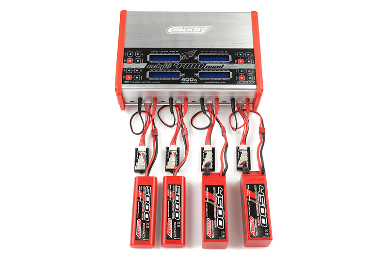 Team Corally - Charger - Eclips 4400 Quad - AC/DC - 400W Power - LCD Display - (4X) 1-6 Li-Xx - 1-15 Ni-Xx
