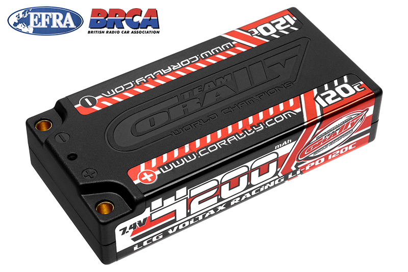 Team Corally - Voltax 120C LiPo Battery - 4200mAh - 7.4V - LCG Shorty 2S - 4mm Bullit