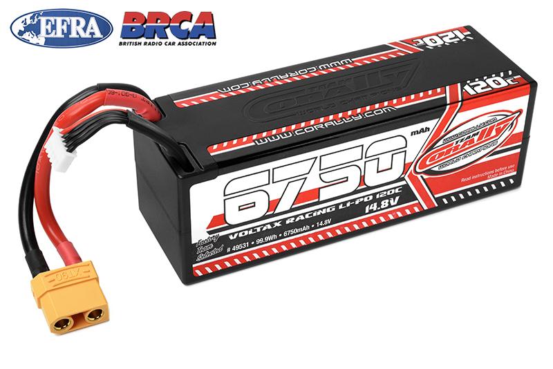Team Corally - Voltax 120C LiPo Battery - 6750mAh - 14.8V - Stick 4S - Hard Wire - XT90