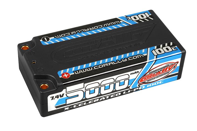 Team Corally - X-Celerated 100C LiPo Battery - 5000 mAh - 7.4V - Stick 2S - 4mm Bullit