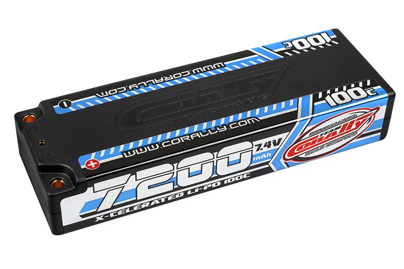 Team Corally - X-Celerated 100C LiPo Battery - 7200 mAh - 7.4V - Stick 2S - 4mm Bullit