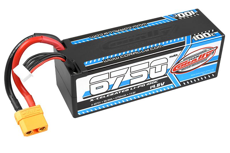 Team Corally - X-Celerated 100C LiPo Battery - 6750 mAh - 14.8V - Stick 4S - Hard Wire - XT90