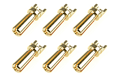 Team Corally - Bullit Connector 3.5mm - Male - Solid Type - Gold Plated - Ultra Low Resistance - Wire Straight - 6 pcs