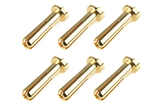 Team Corally - Bullit Connector 4.0mm - Male - Solid Type - Gold Plated - Ultra Low Resistance - Wire 90° - 6 pcs