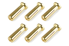 Team Corally - Bullit Connector 5.0mm - Male - Solid Type - Gold Plated - Ultra Low Resistance - Wire 90°- 6 pcs