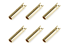 Team Corally - Bullit Connector 2.0mm - Female - Gold Plated - Ultra Low Resistance  - 6 pcs