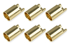 Team Corally - Bullit Connector 6.5mm - Female - Gold Plated - Ultra Low Resistance  - 6 pcs