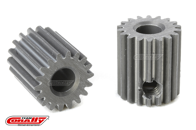 Team Corally - 64 DP Pinion - Short - Hard Anodised AL7075 - 18 Teeth - Shaft Dia. 3.17mm